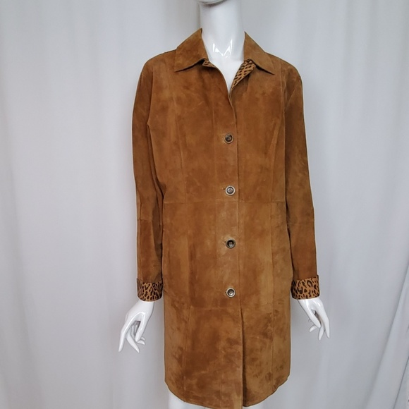 Chico's Jackets & Blazers - Chico's Brown Suede Reversible Coat Jacket Leopard